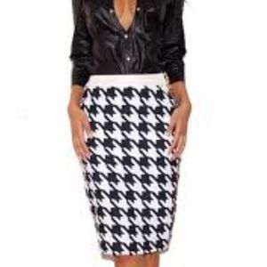 House of CB London houndstooth pencil skirt